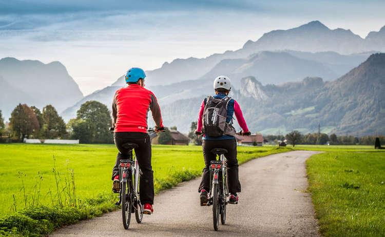 Biking in the alpine town