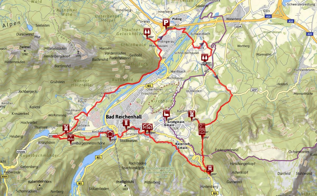Streckenverlauf des Burgenweges Bad Reichenhall