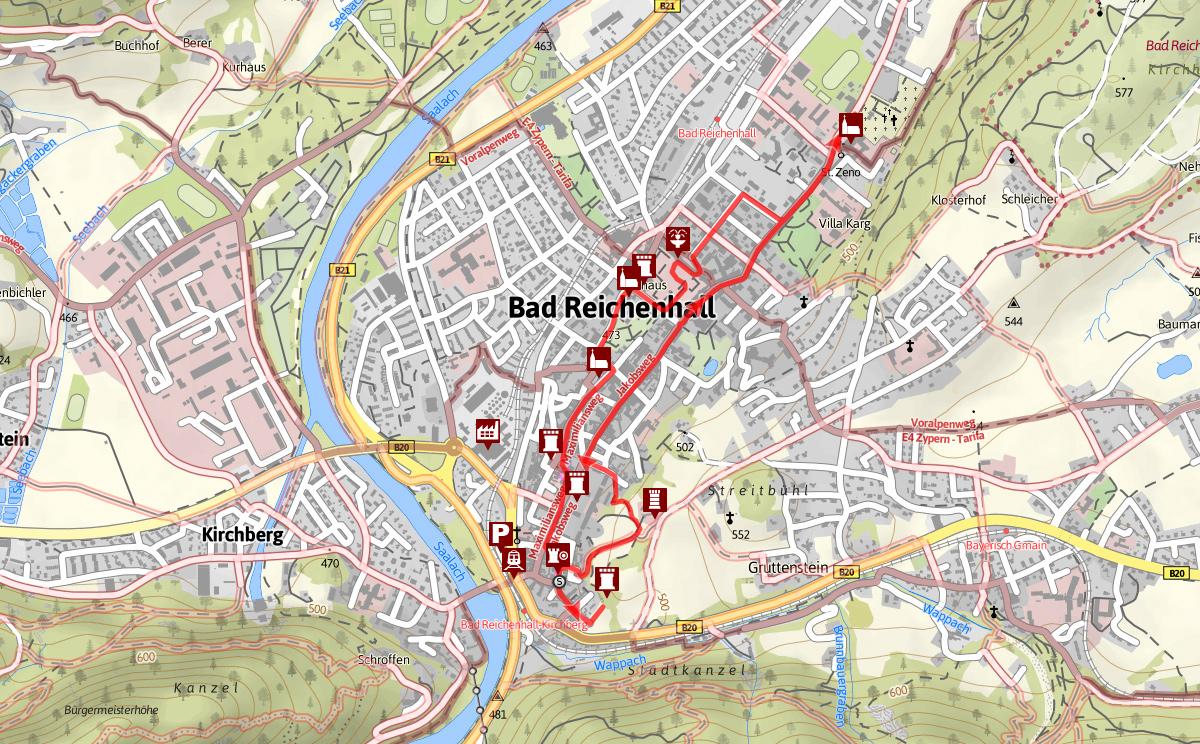 Strecke Standtrundgang Bad Reichenhall