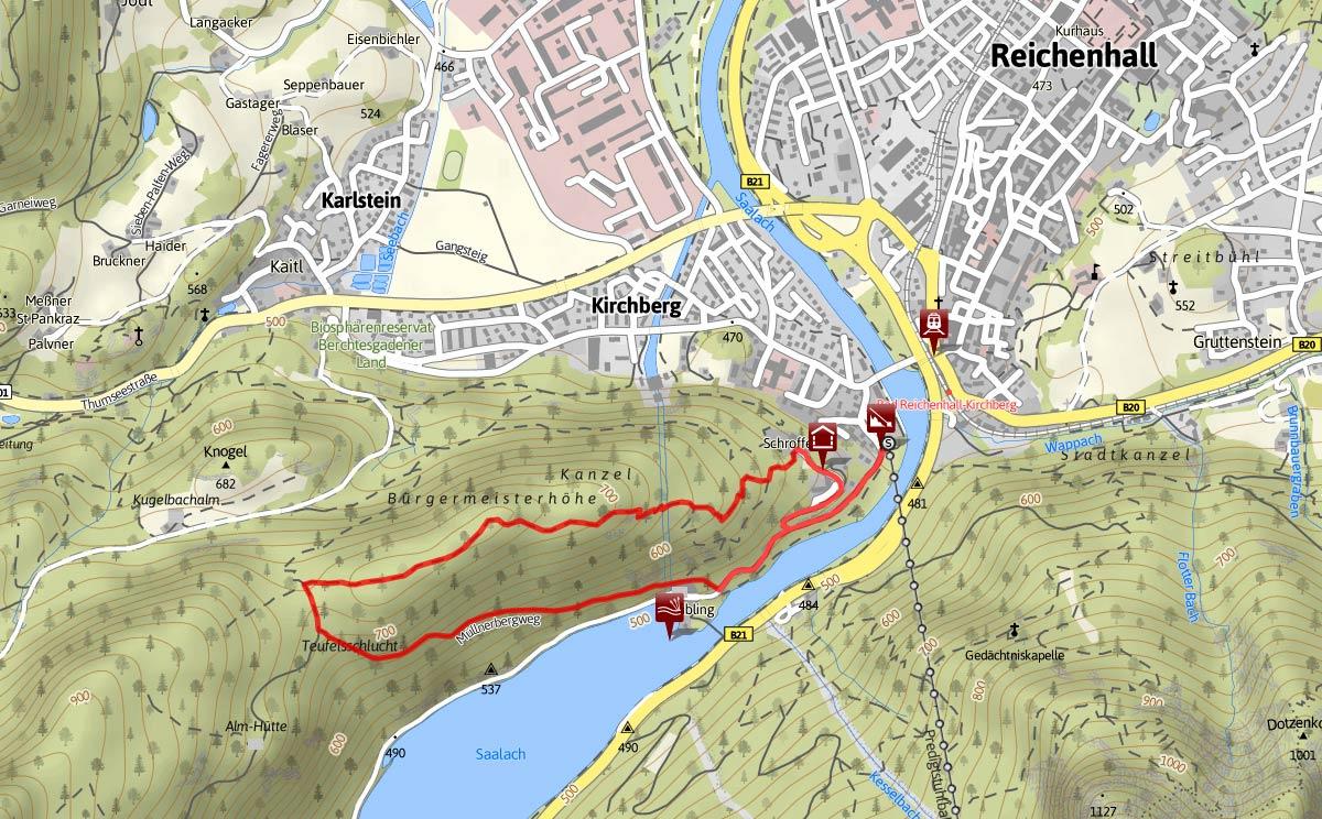 Streckenverlauf Kiblinger Höhenweg Bad Reichenhall