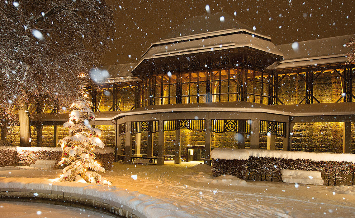 Schneefall Winter Gradierhaus Reichenhall