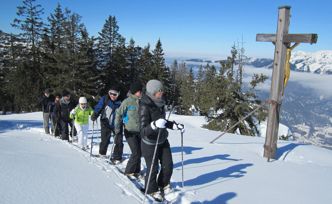 Snowshoeing on Mount Predigtstuhl