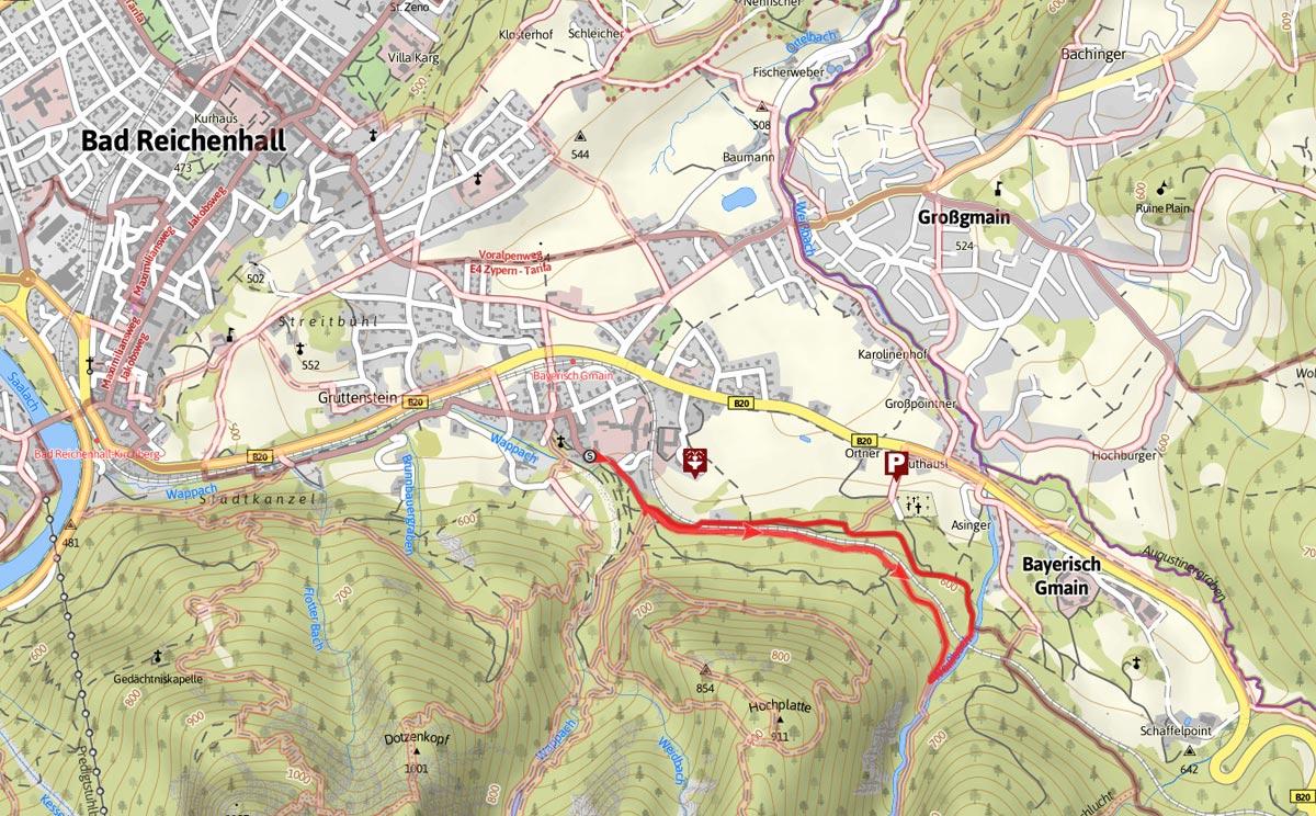 Wegverlauf Wald-Idyll-Pfad am Maisweg