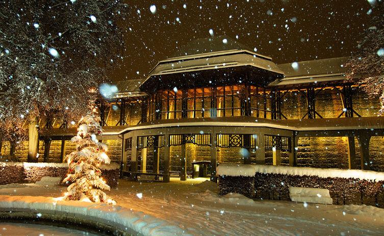 Winter im Königlichen Kurgarten der Alpenstadt Bad Reichenhall